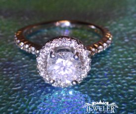 1.45 CARAT Halo Diamond Engagement Ring