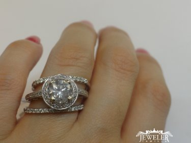 2 CARAT Halo Diamond Engagement Ring Set